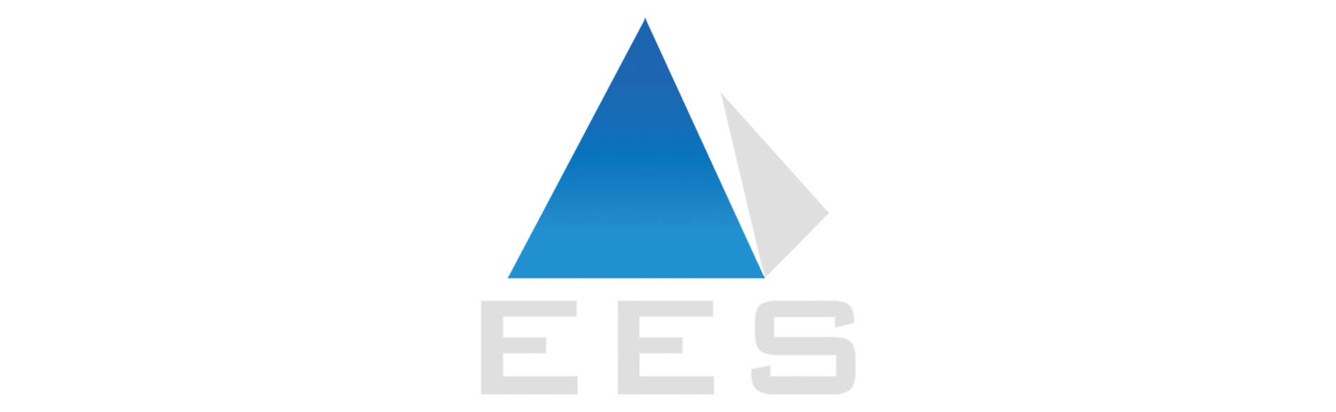 Logo is a pyramid with front in blue and right side in gray. The initials E.E.S. are below in gray.